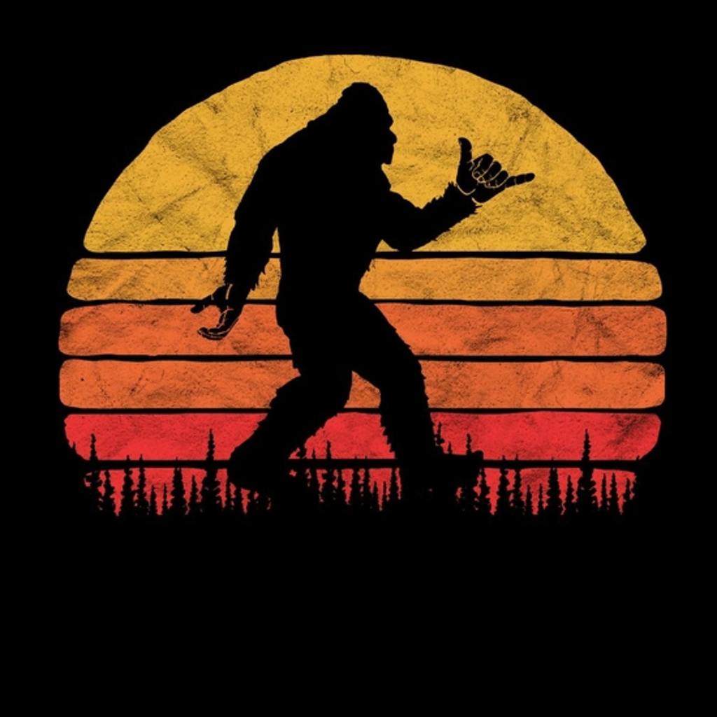 BustedTees: Funny Shaka Aloha Bigfoot Surfer Shirt - Believe D