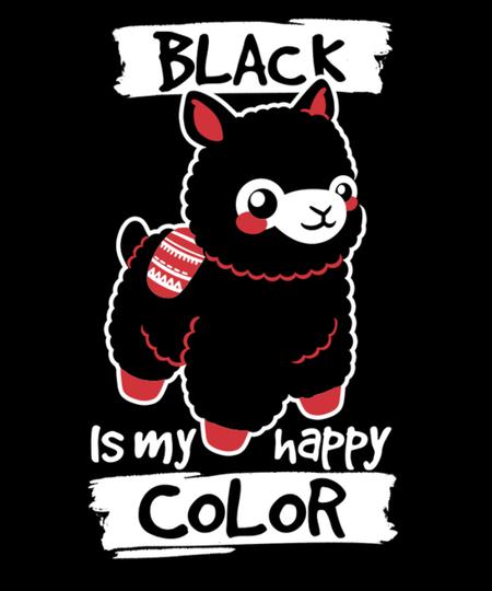 Qwertee: Black happy alpaca