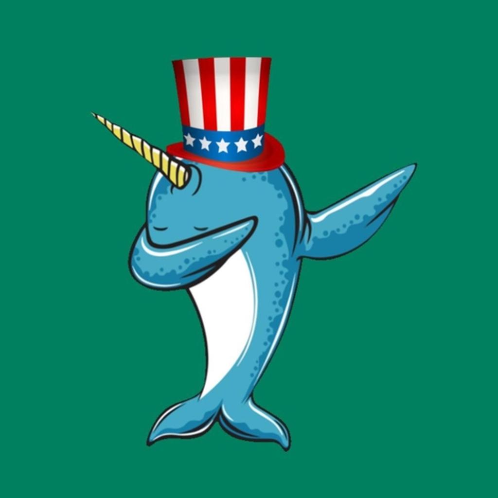 BustedTees: Dabbing Narwhal Patriotic America Pun
