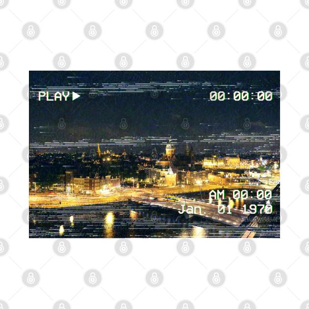 TeePublic: Amsterdam skyline Vhs Texture