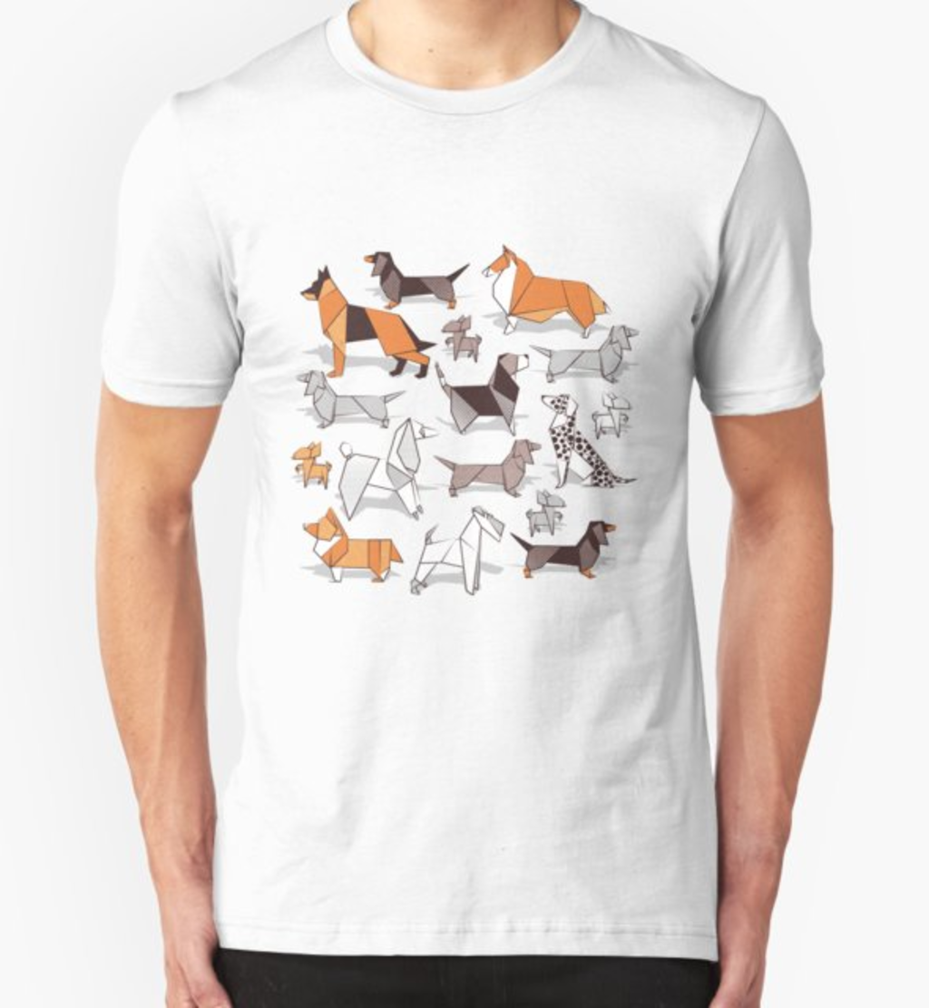 RedBubble: Origami doggie friends // grey linen texture background