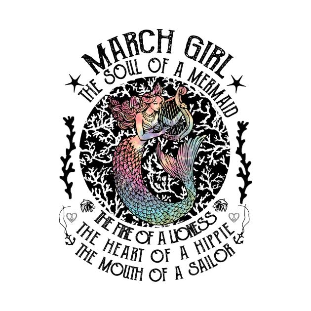 TeePublic: March Girl The Soul Of A Mermaid Retro