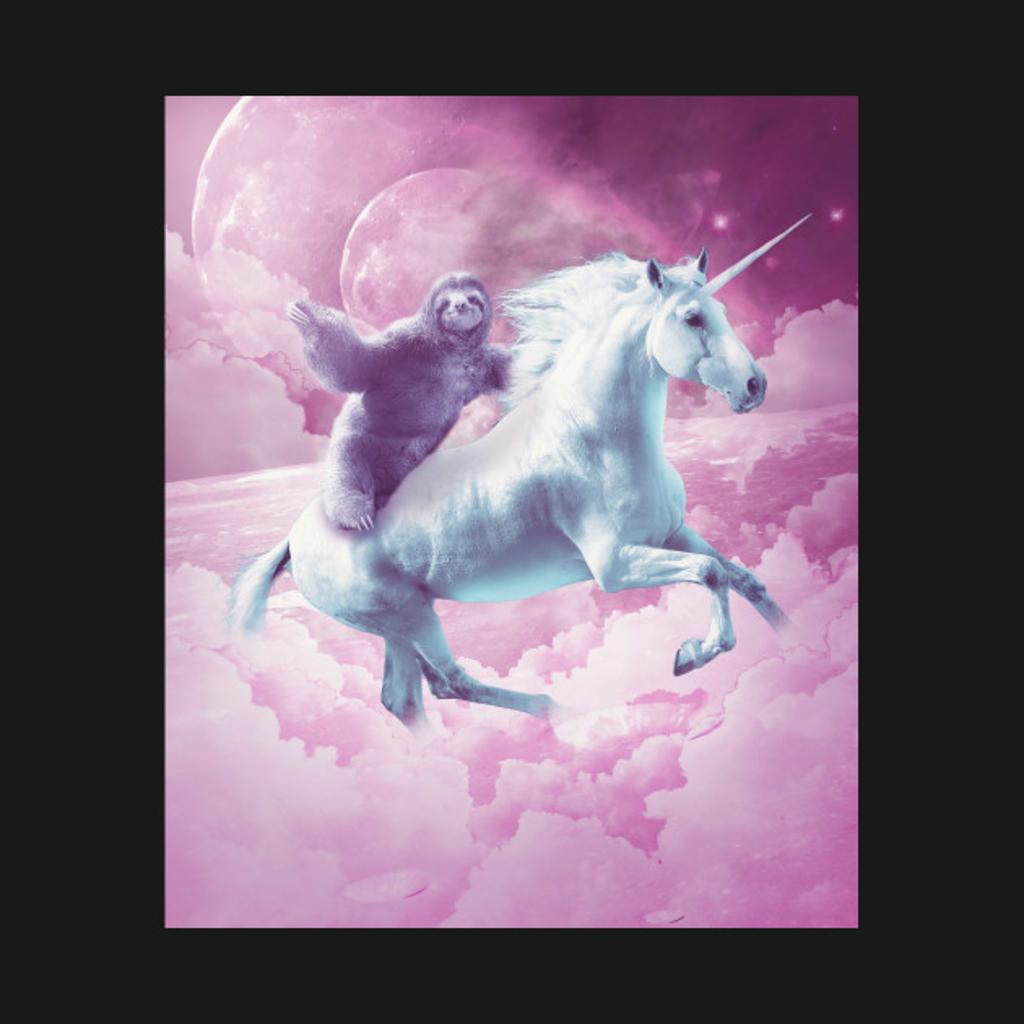TeePublic: Epic Space Sloth Riding On Unicorn