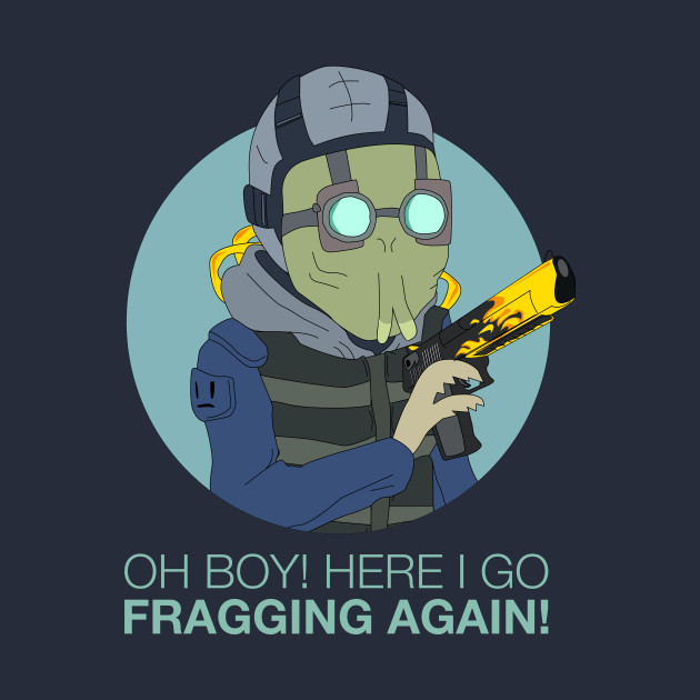 "TeePublic: ""Oh boy, here I go fragging again"" - Krombopulos Michael with CSGO Deagle Blaze"