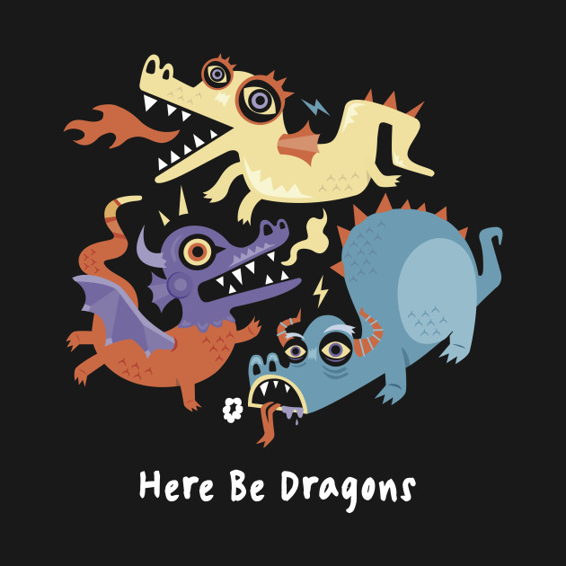 TeePublic: Here be Dragons - Programming