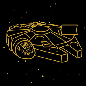 TeeTurtle: Millennium Falcon (Gold Metallic Ink)