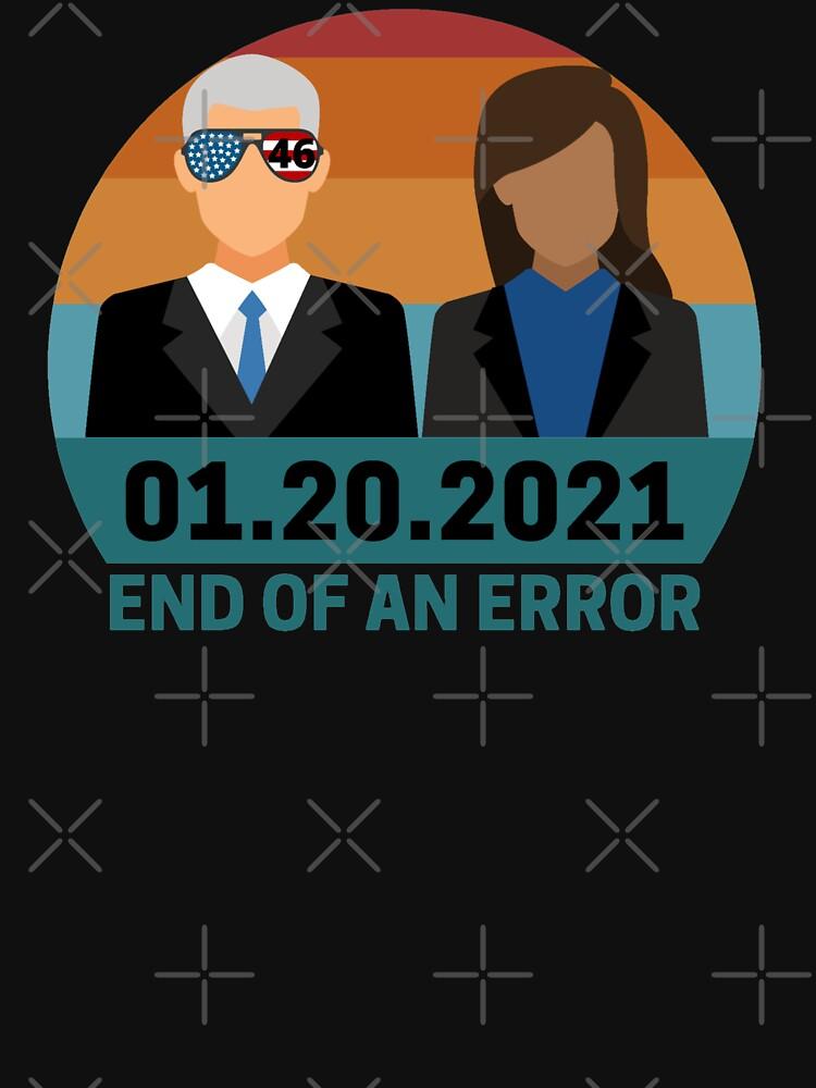 RedBubble: 01.20.2021 End of an error- 46th president Biden, fist woman VP Kamala Harris retro sunset