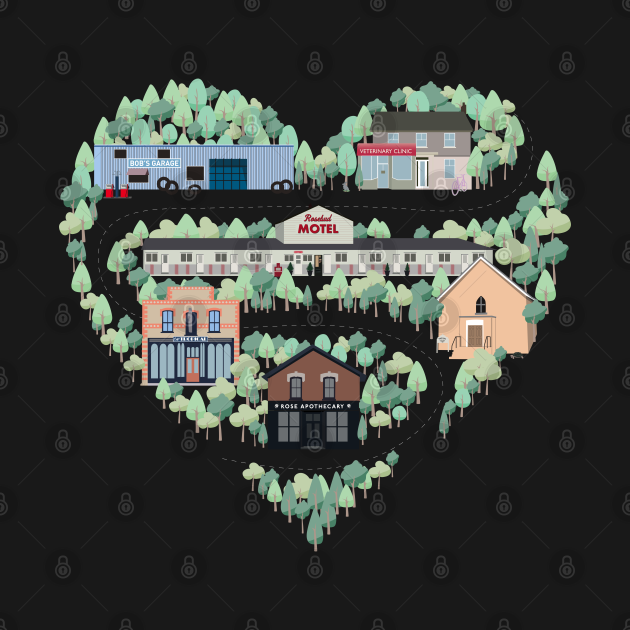 TeePublic: I Love the Town of Schitt's Creek, where everyone fits in. From the Rosebud Motel to Rose Apothecary, a drawing of the Schitt's Creek Buildings