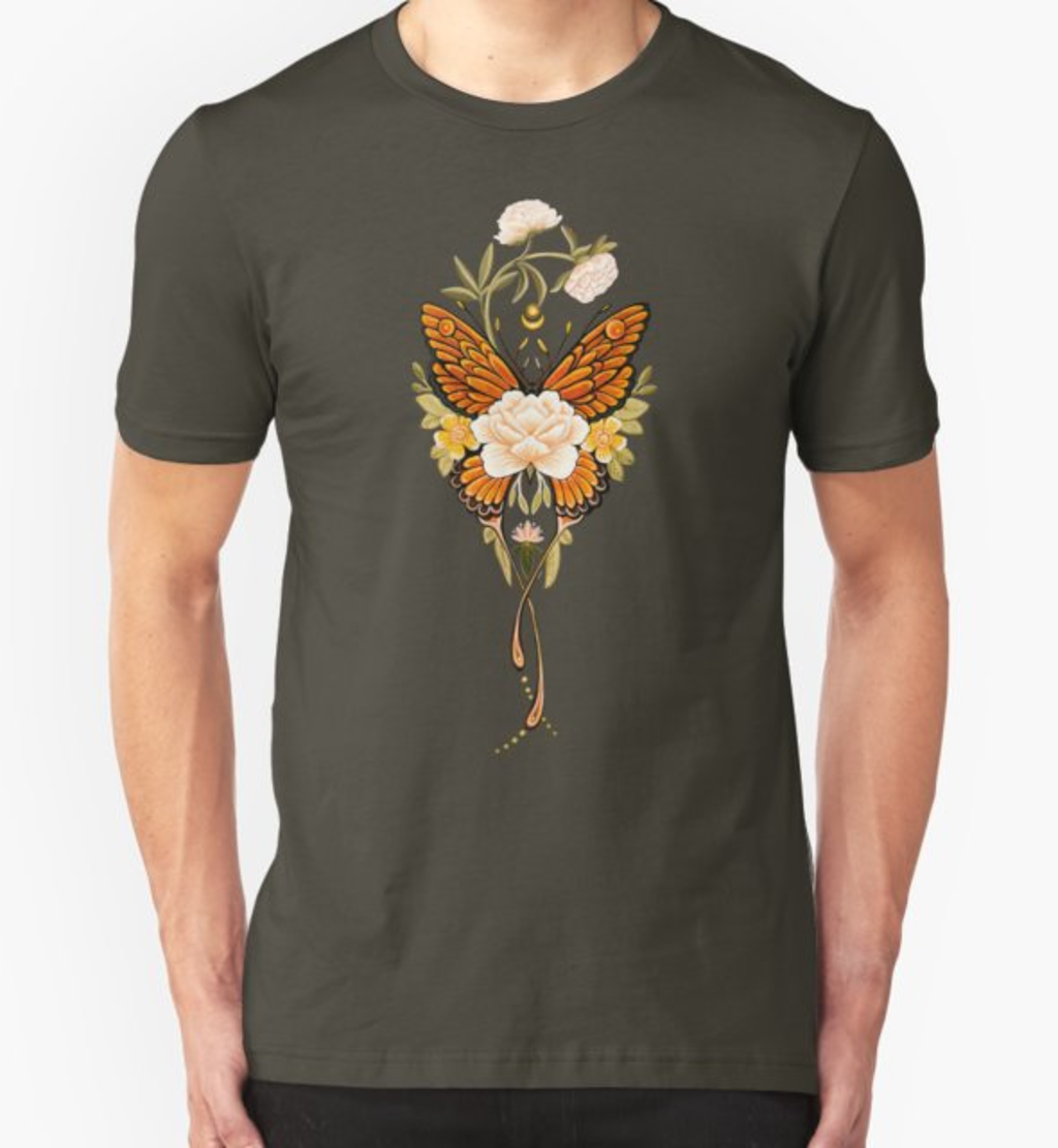 RedBubble: Tattoo Butterfly Peonies