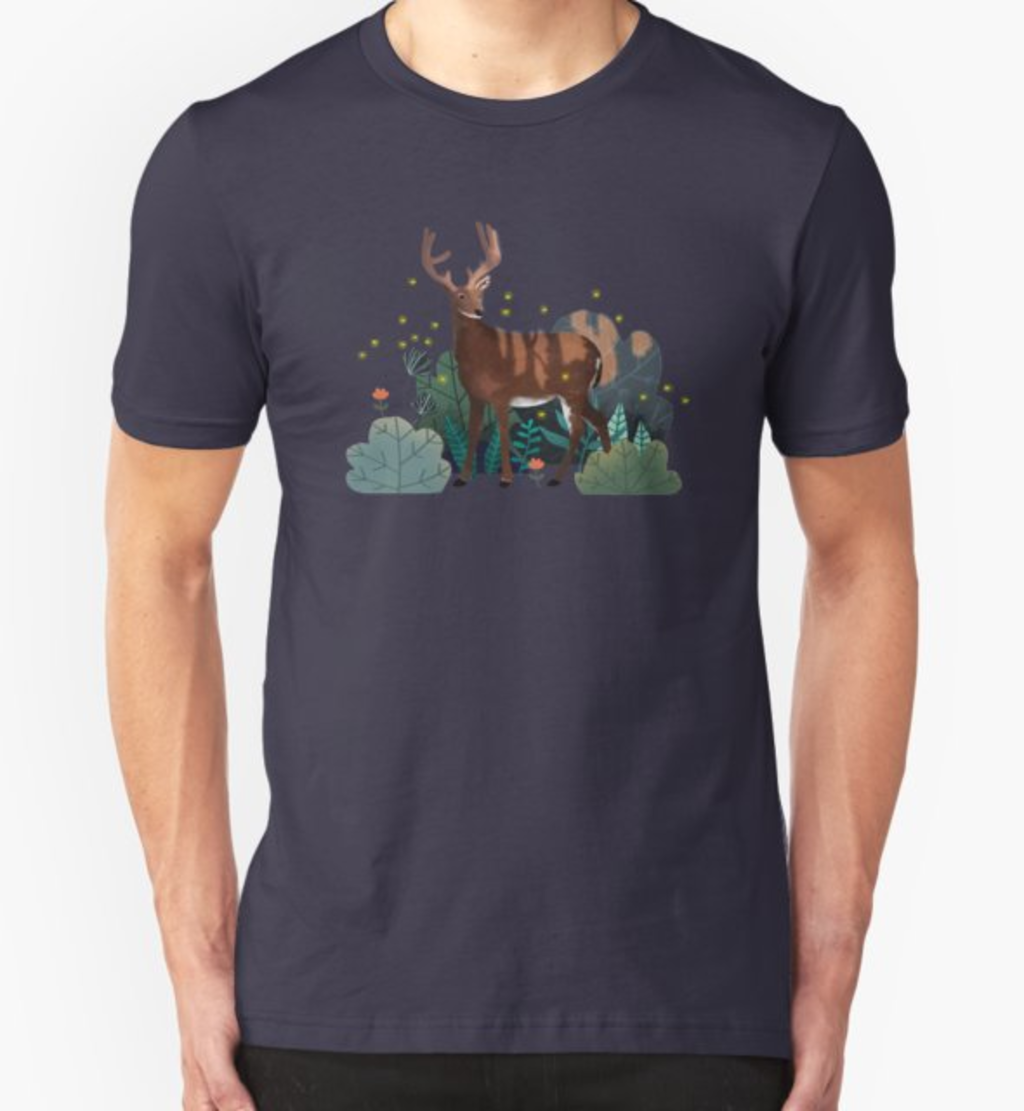 RedBubble: Deer in the forest