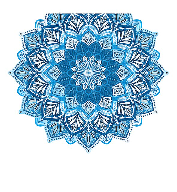RedBubble: Boho Mandala in Monochrome Blue and White