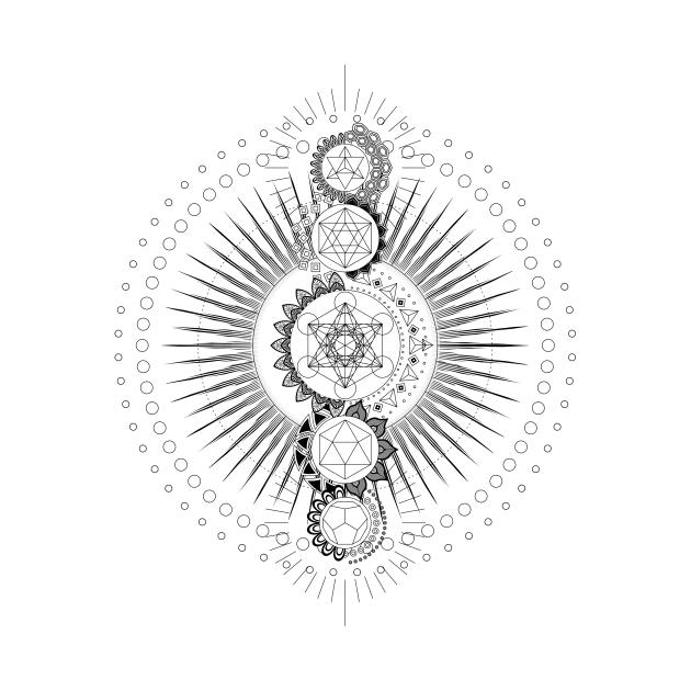TeePublic: Sacred Geometry Metatron's Cube Black Transcendence