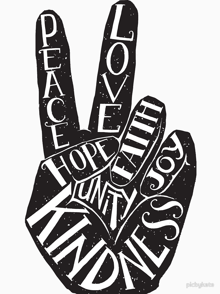 Peace Sign With Words Peace Love Faith Joy Hope