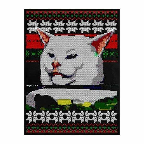 BustedTees: Woman Yelling at a Cat Ugly Christmas Mug