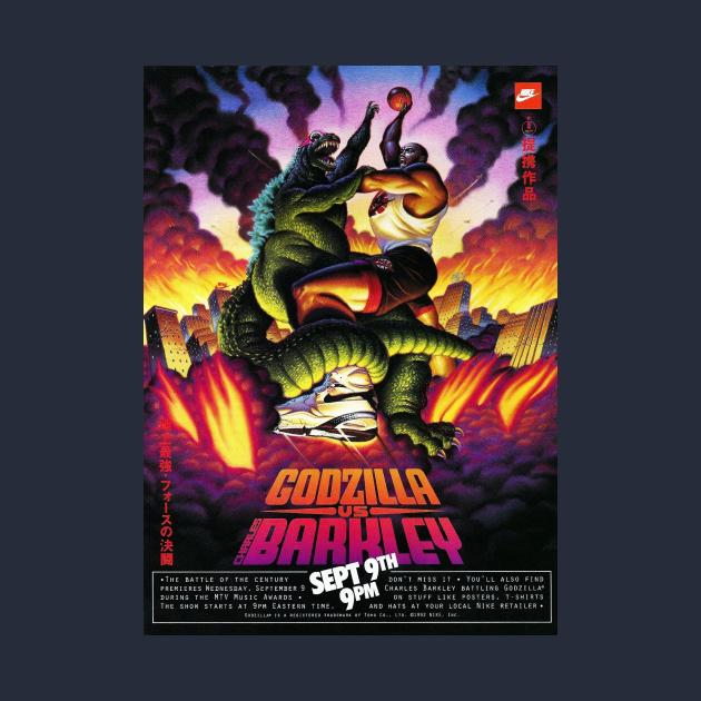TeePublic: Godzilla Vs. Charles Barkley Poster