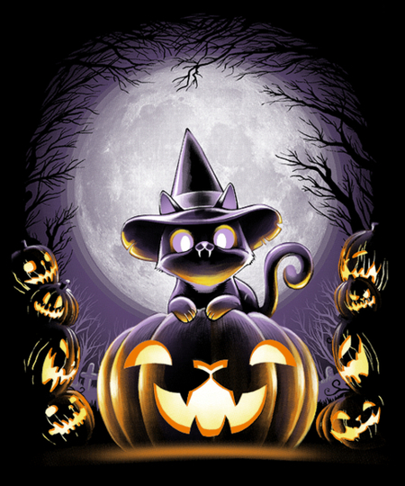 Qwertee: Witch-Cat Night