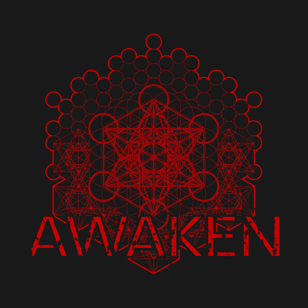TeePublic: Awaken Distressed Vintage Sacred Metatron Red