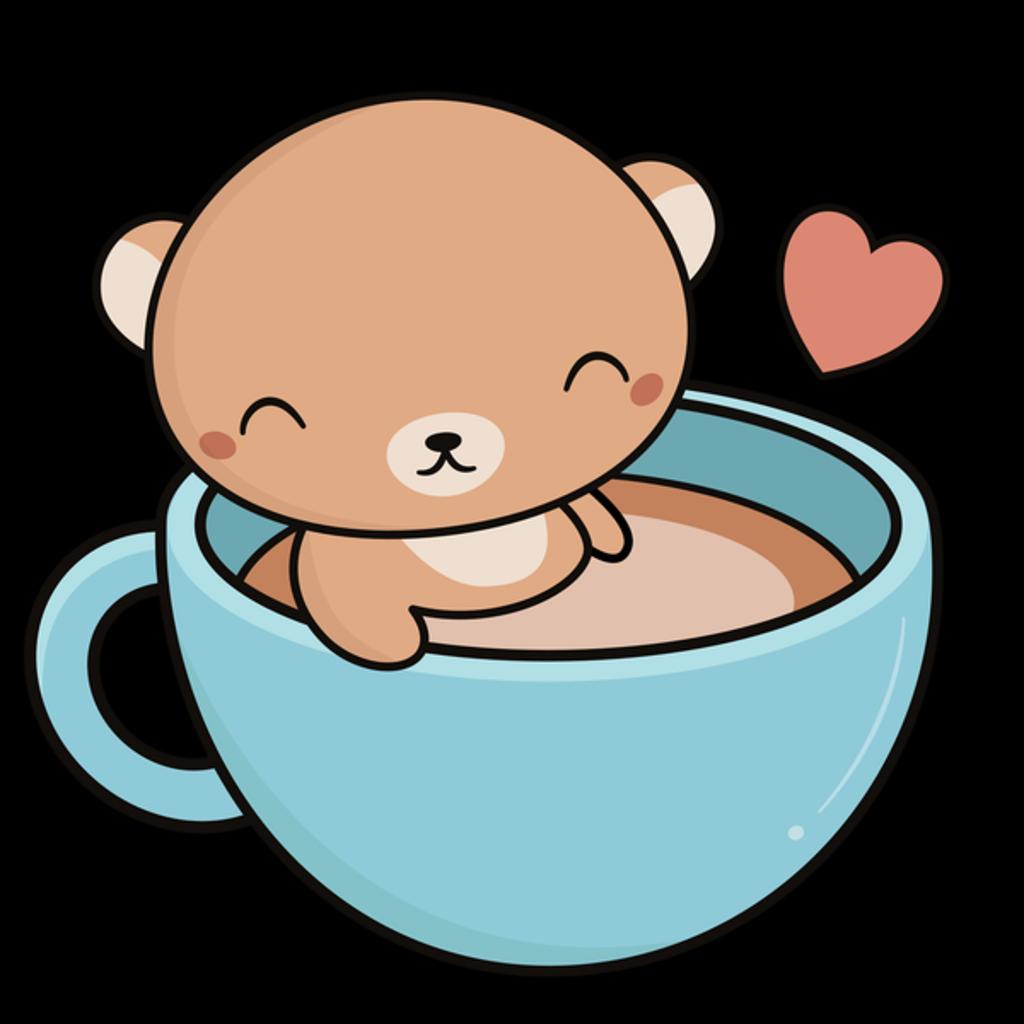NeatoShop: Mug Filled with Coffee and Kawaii Bear