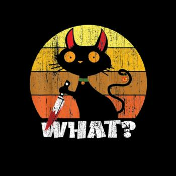 BustedTees: Murderous Cat With Knife Kids Shirt
