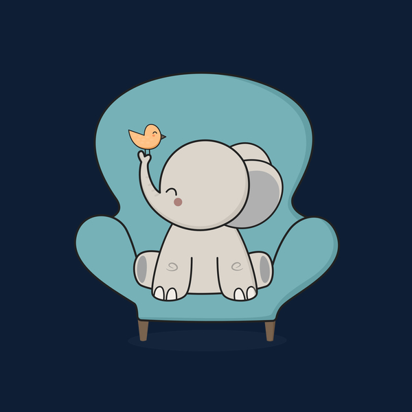 NeatoShop: Cute and Happy Elephant Sitting On A Sofa
