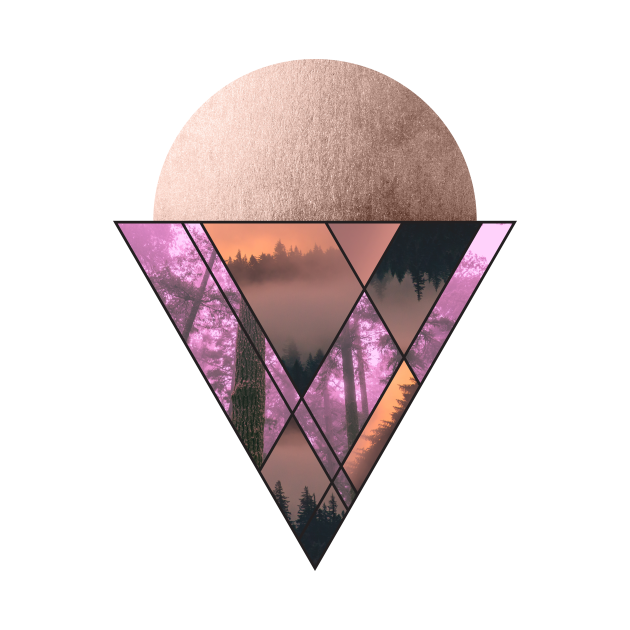 TeePublic: Rosegold glitter Mountain and Forest Cone