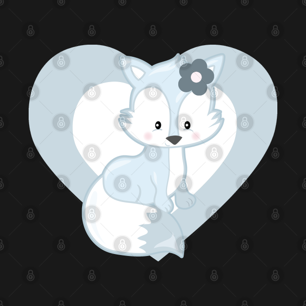 TeePublic: Cute White fox Heart for Fox Lovers