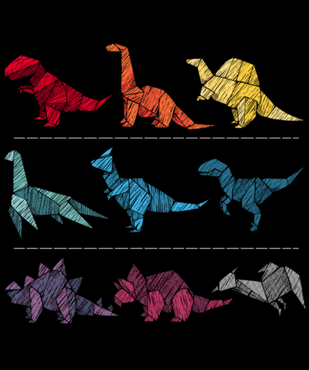 Qwertee: Embroidery Dinosaurs