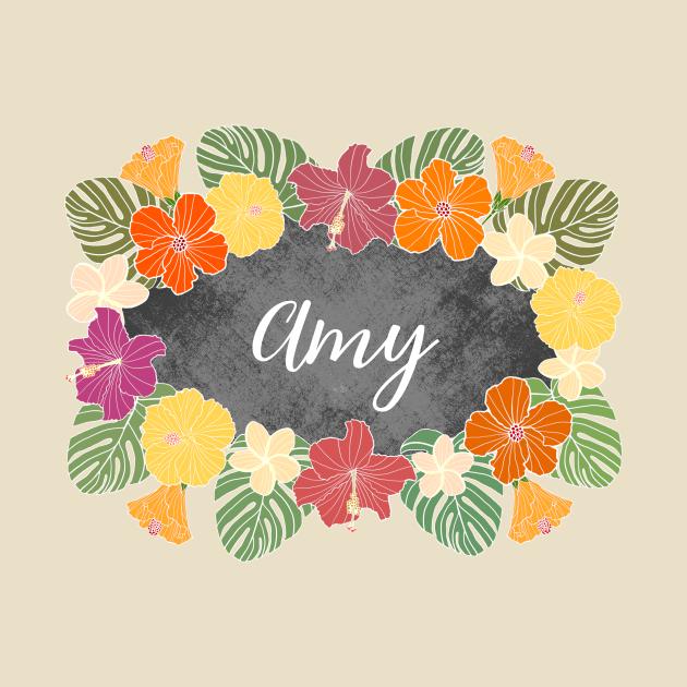 TeePublic: Amy Tropical Hibiscus Flowers Name
