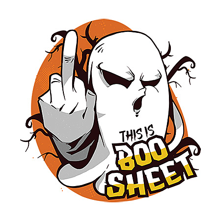 MeWicked: This is Boo-Sheet - Ghost Flipping Off - Middle Finger - Halloween