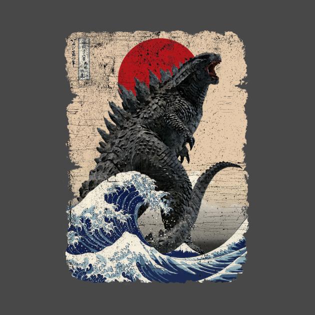 TeePublic: Godzilla and the Wave