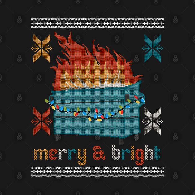 TeePublic: Ugly Christmas Sweater Design Dumpster Fire - Merry and Bright