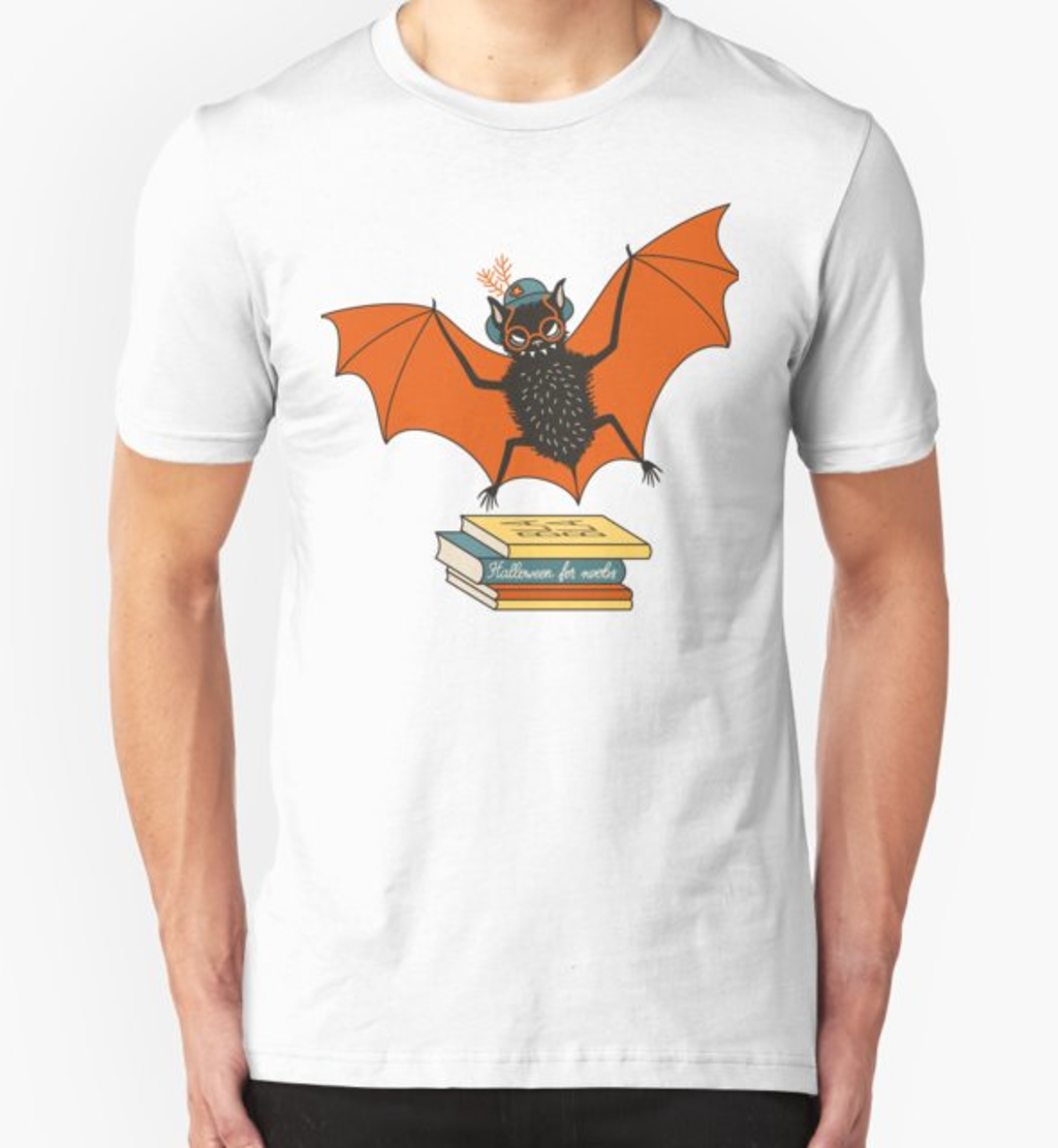RedBubble: Bat granny in the library