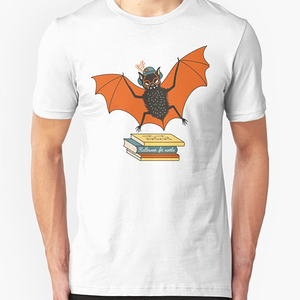 RedBubble: Bat granny in the library