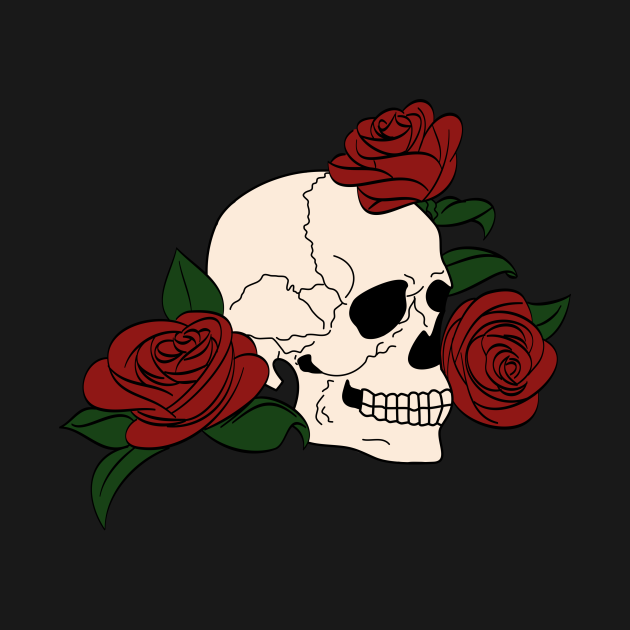 TeePublic: Traditional Skull & Roses