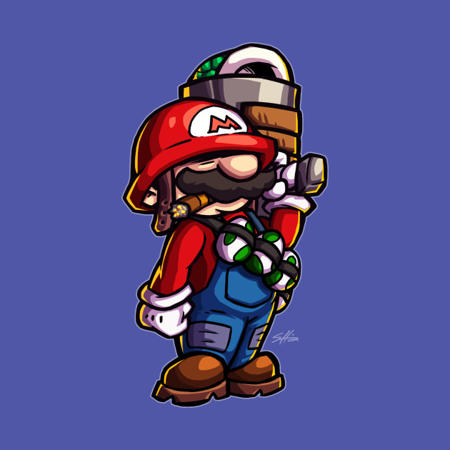 TeePublic: Combat Mario (for dark color shirts)