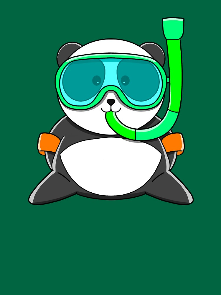 RedBubble: Cute Summer Panda with snorkel - dive mask ready to swim