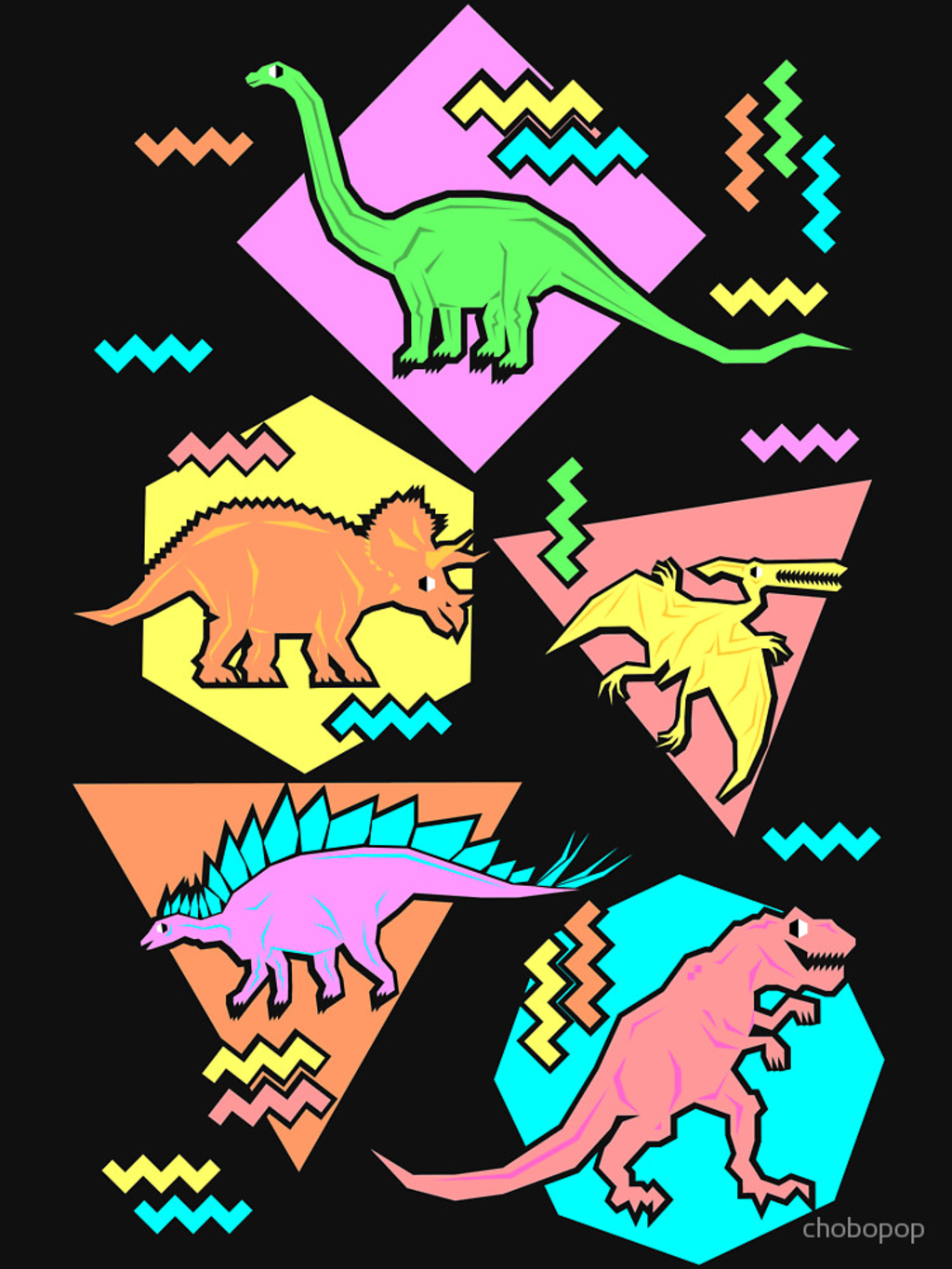 RedBubble: Nineties Dinosaurs Pattern