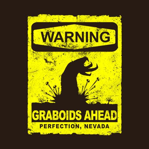 Five Finger Tees: Warning: Graboids Ahead T-Shirt