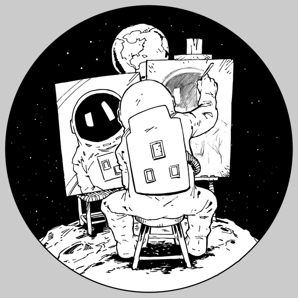 NeatoShop: Painting Astronaut - Black and White