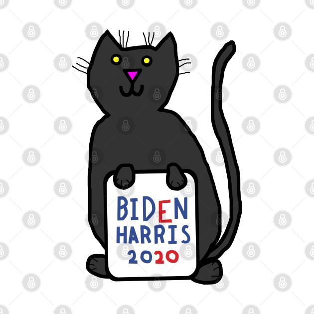 TeePublic: Small Cat with Biden Harris Sign