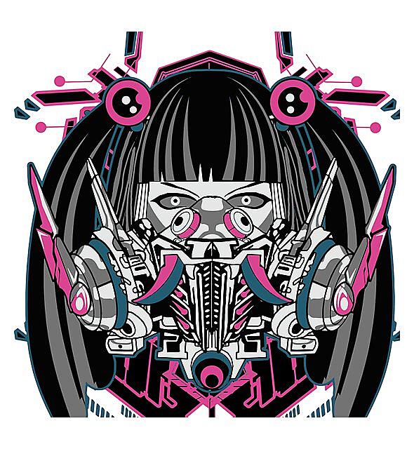 RedBubble: Cyberpunk Anime Girl With Horror Mask & Sacred Geometry