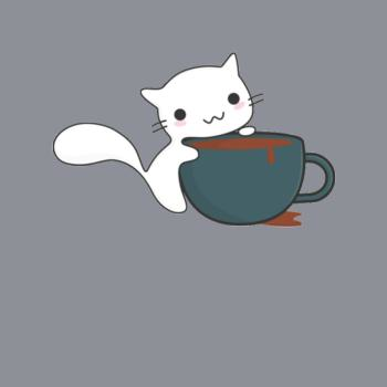 BustedTees: Happy Cat With Coffee