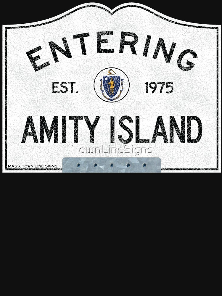 RedBubble: Entering Amity Island, Massachusetts Town Line Sign, with Bracket, Distressed Crackled to Silver Color Paint Appearance