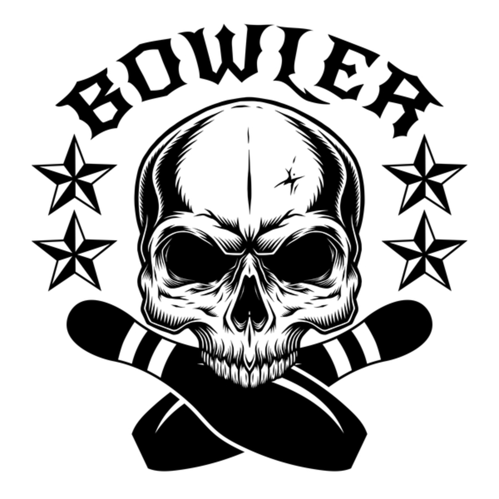 NeatoShop: Bowler - Bowling Player Skull with Stars, Ball and Pins