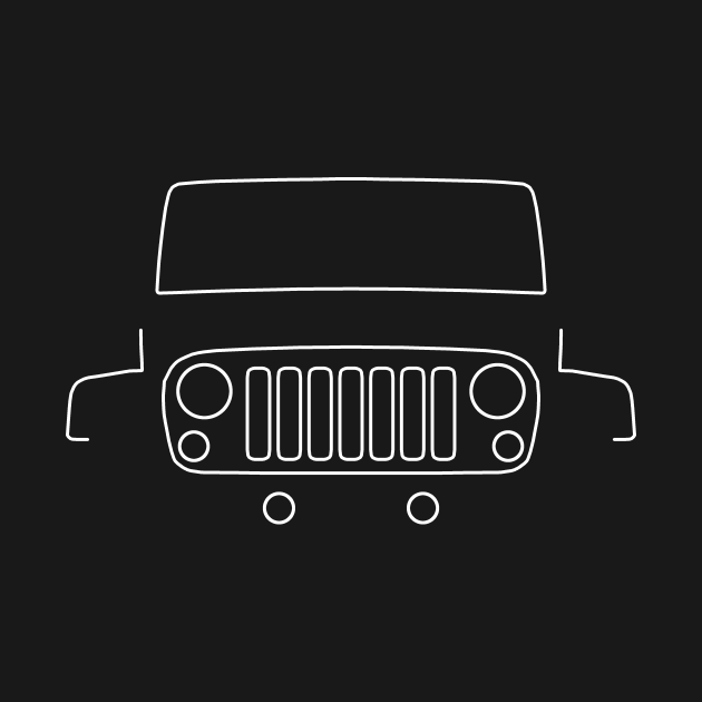 TeePublic: Jeep Wrangler outline graphic (white)