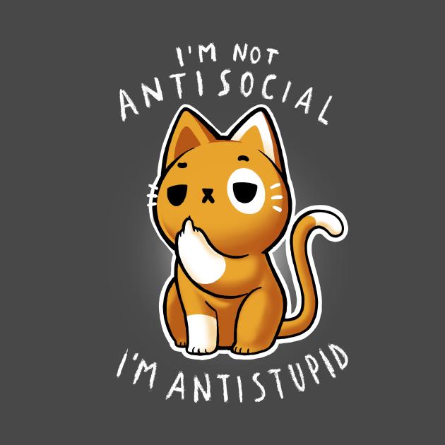 TeePublic: Antisocial Sarcastic Cat - Cute Funny Kitty
