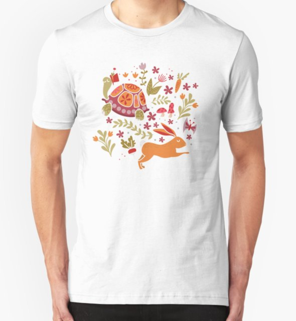 RedBubble: Tortoise and the Hare in Red