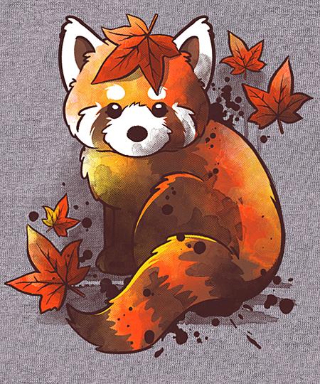 Qwertee: Red panda red leaves