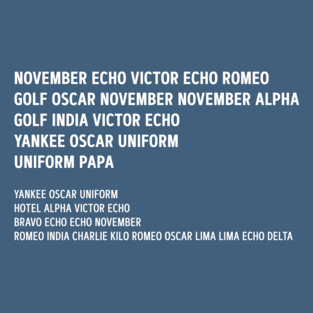 NeatoShop: NOVEMBER ECHO VICTOR ECHO ROMEO