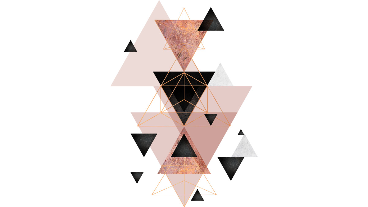 Geometric Triangles In Blush And Rose Gold From Design By